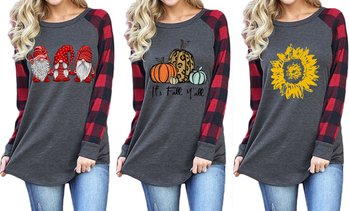 Women's Plaid Raglan Sleeve T-Shirt Printed Long Sleeve Tops Tunic