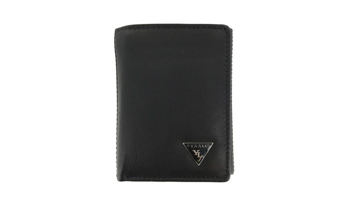 Faddism Mens Leather Flipout ID Wallet Trifold Hybrid