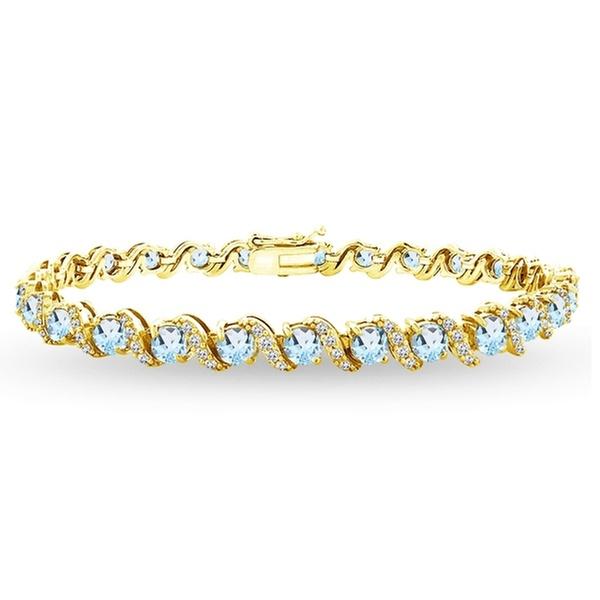 Sterling Silver-Plated Brass /& Gold Flash 7 3//4 ct Multi-Gem /& Diamond Bracelet