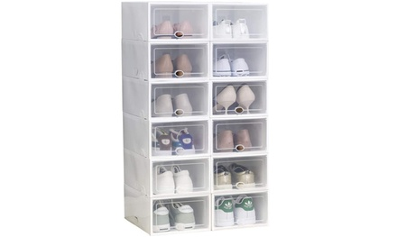 Shoe Storage Boxes Clear Plastic Stackable Shoe Rack(12 Pack,24 Pack,36 Pack)
