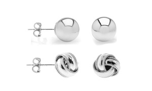 Solid Italian Love Knot and Ball Stud Earrings Set in Sterling Silver (2 Pack)