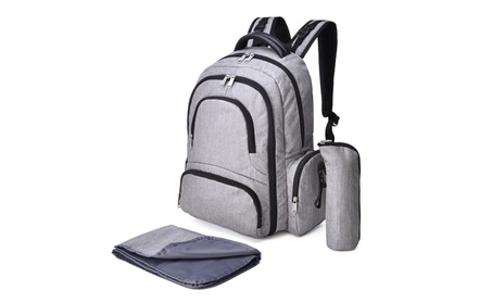 Baby Diaper Bag Backpack, Large Nappy Bag Travel Backpack, Gray 2a1f3767-9fed-4a61-8df7-6068c5b3bb77