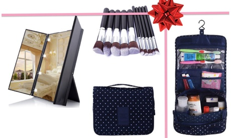 Makeup Kit Gift Set: LED Mirror, Makeup Brush Set And Travel Toiletries Kit