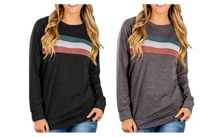Womens Crewneck Color Block Long Sleeve Loose Casual Sweatshirt 380e88d4-e9ac-4c37-ba2c-0040da950630