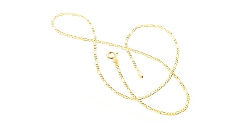 Italian Made Solid Sterling Silver Figaro Chains in 18k Yellow Gold 55c0f3e1-a050-4270-b5df-fb01a3a04018