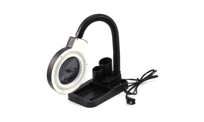 bestpricestore: 5X 10X Tabletop Glass Desk Magnifying Lamp Magnifier Adjustable Light