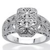 Diamond Accent Platinum over Sterling Silver Filigree Ring