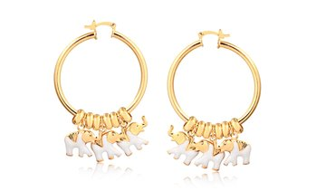Enamel Elephant Charm Hoop Earrings