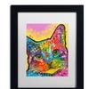 Dean Russo 'Tilt Cat' Matted Black Framed Art