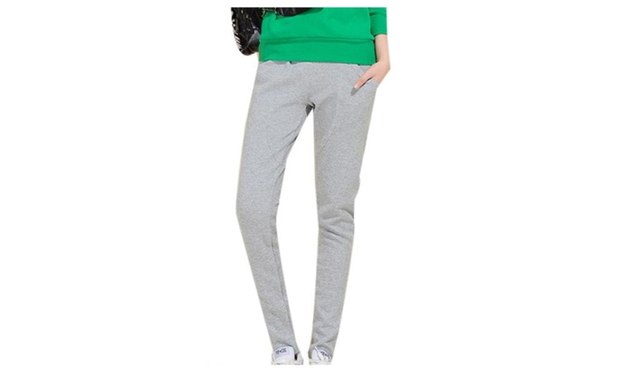 Women's Simple ZipUpwithButtonClosure Casual Trousers