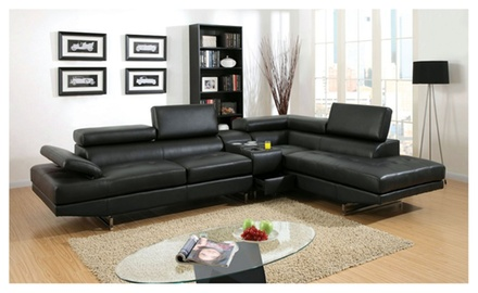 Vetovo sectional sofa with speaker console upholstered in for Sectional sofa groupon