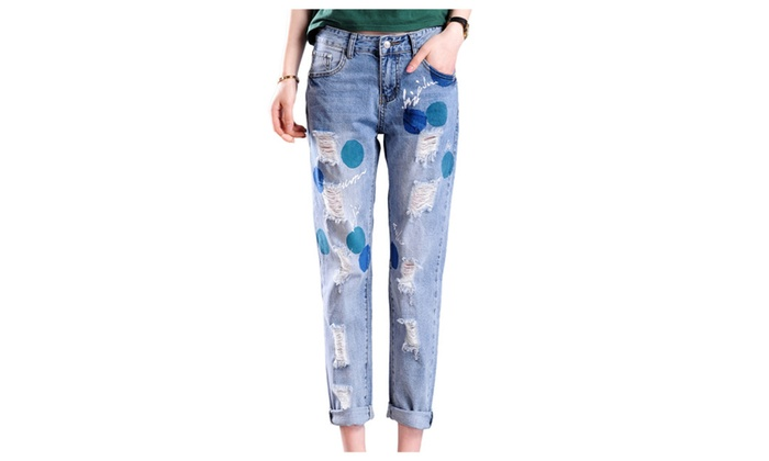 Women's Loose Fit Dot Ripped Skinny Destroy Denim Jeans