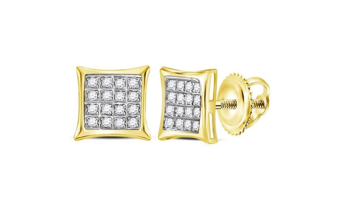 1 10 Cttw Diamond Square Cer Stud Earrings In 10k Gold By Sonneta