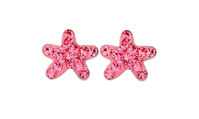 Groupon Goods: Stainless Steel Colored Cubic Zirconia Starfish Earrings