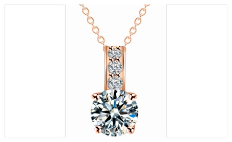 14k Rose Gold plated and Multi Simulated Diamond Necklace 08b959e8-15e0-4a32-b4f8-8699123e309b