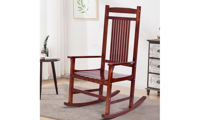 Solid Wood Porch Rocking Chair Rocker Indoor Outdoor Patio Backyard  Furniture ...
