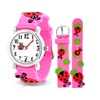 Bling Jewelry Pink Ladybug Clover Kids Watch Stainless Steel Back