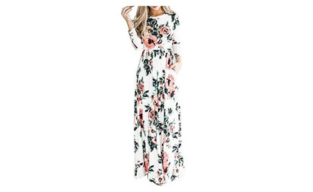 Women's Floral Print Maxi Dress Pocket Long Dress d98a41d3-2a4b-42f4-a9c4-66e5155aaa5f