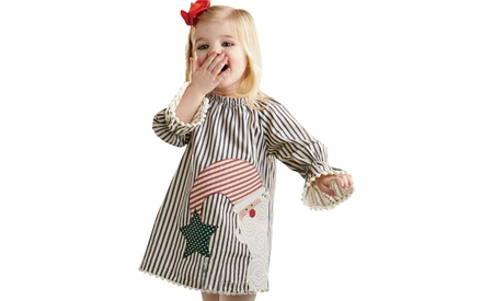 Inverlee Christmas Toddler Baby Girls Santa Striped Princess Dress