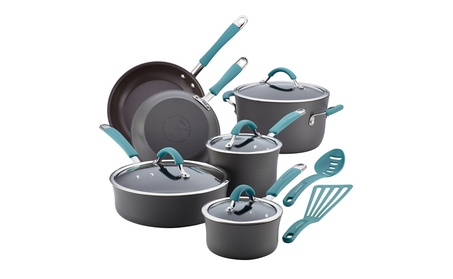 Rachael Ray Cucina 12-Piece Cookware Set, Gray, Agave Blue Handles a5c1ba52-0295-4b72-81e7-774c9c581fd2