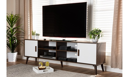 Quinn Two-Tone White and Walnut 2-Door Wood TV Stand