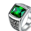 Unique Red Green Square Stone Stainless Steel Titanium Ring for Men