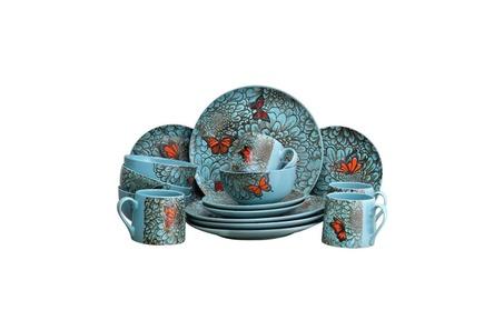 Butterfly Garden 16 Piece Stoneware Dish Dinnerware Set