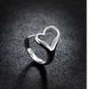 Sterling Silver Adjustable Hollow Heart Ring