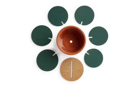 6-Piece Green Coaster Set with Flower Pot Shaped Holder 1a0ceef0-4a1d-4755-8780-04ef7aa7b750