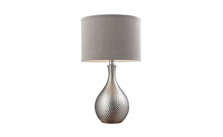 Hammered Chrome Plated Table Lamp With Grey Faux Silk Shade 81081ce0-ec7b-42b4-9089-477af06f7a69