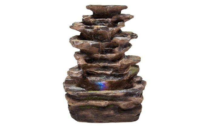 Home Indoor Tabletop Fountain Waterfall With Multicolor LED Lights ...