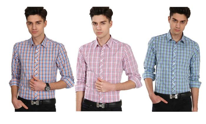 Oshlen Man's Plaid Long Sleeve Slim Fit Shirt