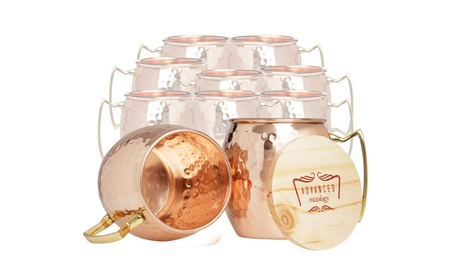 Moscow Mule Pure Copper Mugs (Set of 10) - Barrel With Brass Handle 885f6b53-f304-4a91-9ac4-4cde89ae0ea5