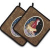 Carolines Treasures SS8973PTHD Santa Claus with Golden Retriever Pair of Pot Hol