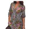 Women Plus Size Button Down Shirt Floral Print V-neck Tunic Tops