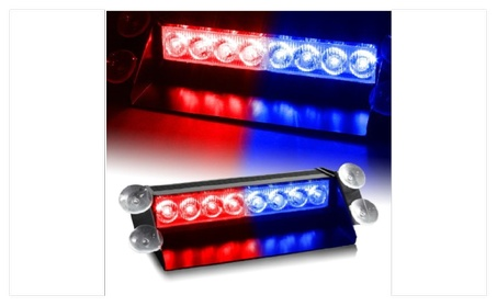 Zone Tech 8 LED Visor Dashboard Emergency Strobe Lights Red/Blue 5a8a6d49-f280-42ae-a560-802c8eb4bf48