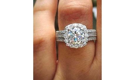 925 Sterling Silver White Topaz Engagement Bridal Wedding Rings