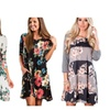 Women 3/4 Sleeve Floral A-Line Knee Length Casual T Shirt Dress
