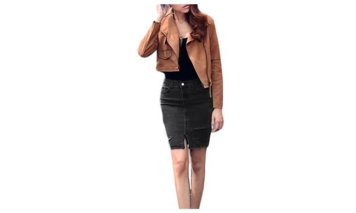 Women's HiddenZipper Mini Casual Side Slits Hem Solid Skirts – Black / One Size