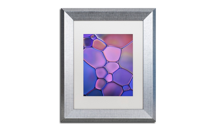 Cora Niele Purple Stained Gl Matted Silver Framed