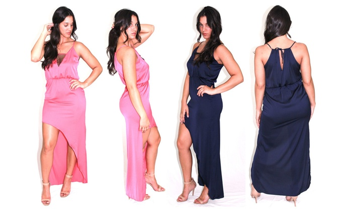 Women's Dresses Asymmetrical Hi-Low Dress in Pink and Navy
