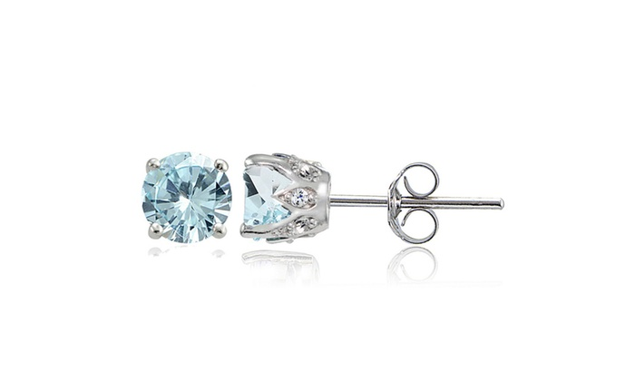 Groupon Goods Light Aquamarine And White Topaz Round Crown Stud Earrings In Sterling Silver