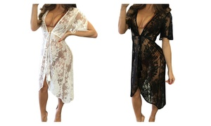 Women Floral Swimsuit Cover Up See-through Bikini Lace Cover-Up Dress