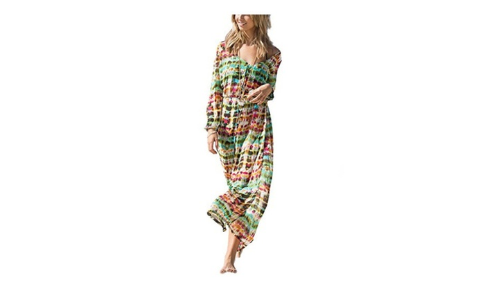 Women's Floral Printed Beach Long V Neck Split Cover Up Dresses – One Color / One Size