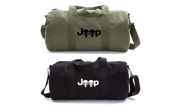 Jeep Wrangler Punisher Skull Heavyweight Canvas Duffel Bag  8adabb519b12e