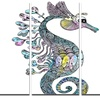 Colorful Seahorse Watercolor - Animal Painting Metal Wall Art