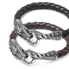 Men's Stainless Steel and Woven Leather Dragon Bracelet by Crucible
