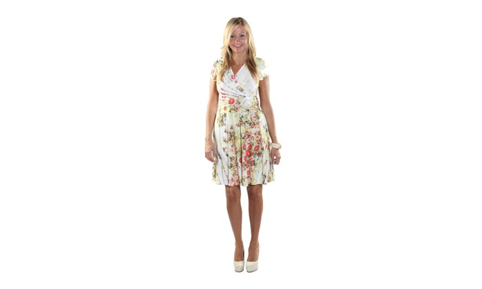 Hadari Women Short Length Sleeve V-Neck Floral Dress