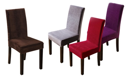 Velvet Stretch Dining Room Chair Covers Chair Slipcovers Set(2- or 4- or 6-Pack)