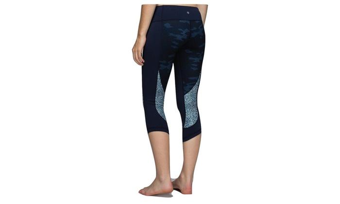 dbbe79278 Lululemon Wunder Under Crop Yoga Pants Sashiko Camo Inkwell Blue ...